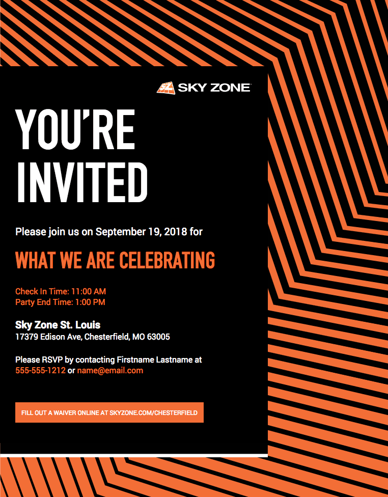 photograph relating to Printable Sky Zone Waiver identified as Sky Zone Vaughan Upon Trampoline Park Electronic Invitation